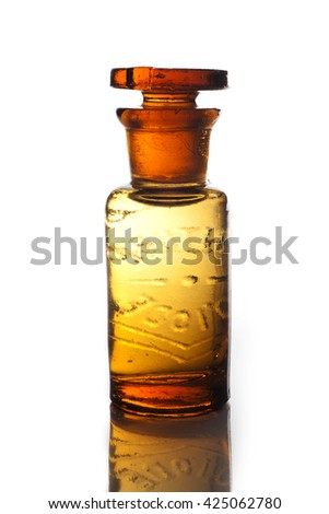 "An antique and vintage  glass bottle for pharmaceutical use of ""Teinture d'iode"" (means Tincture of iodine), that is an antiseptic medicine, isolated on a white background."