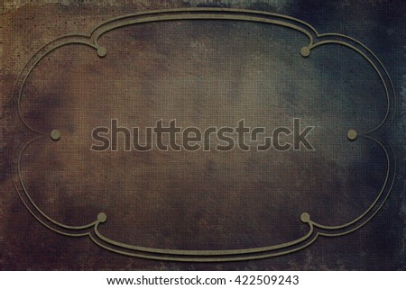 An antique decorative frame with a background with texture. Colors green, yellow and brown