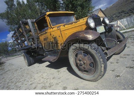 An antique Ford truck in Bannack, Montana - stock photo