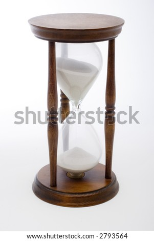 An antique hourglass on a plain white background