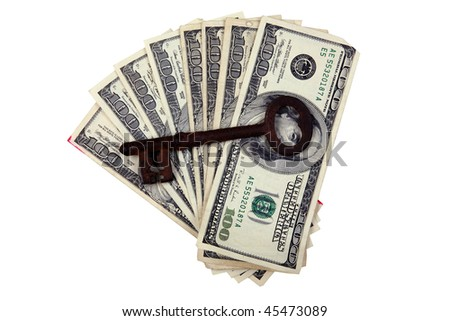 "an Antique Skeleton Key on american cash represents the ""Key to Success"" isolated on white with room for your text"