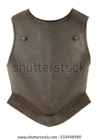 An Antique 17th Century English Civil War Period Armor Breastplate Isolated on White Background - stock photo