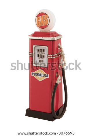 An antique, tin toy gas pump.