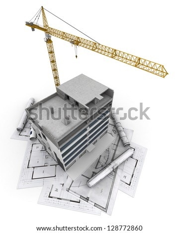 An apartment block in construction with a crane, on top of blueprints