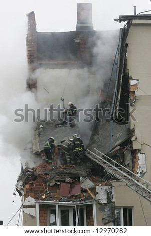 An apartment house ruined by gas explosion in suburban Moscow on June 16, 2006. - stock photo