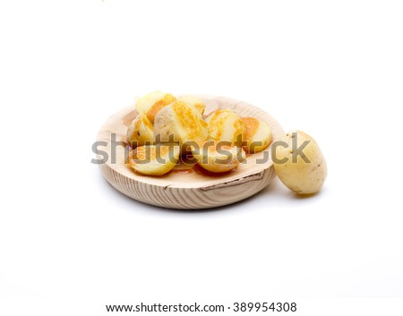 "an appetizer of potatoes with sauce ""Mojo picon"" typical of the Canary Islands - stock photo"