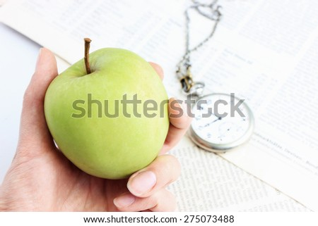An apple, Apple a day, New idea or Do not waste your time, Time management or Time is money, Healthy lifestyle, Diet food - stock photo