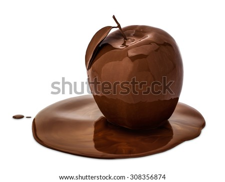 An apple covered with melted chocolate, isolated on white. - stock photo