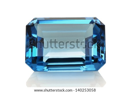 An Aquamarine isolated on white background. - stock photo