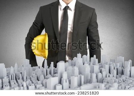 An architect builds and controls a project - stock photo