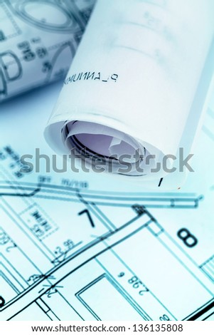 an architect's blueprint for the construction eiones new house. symbolic photo for funding and planning of a new home. - stock photo