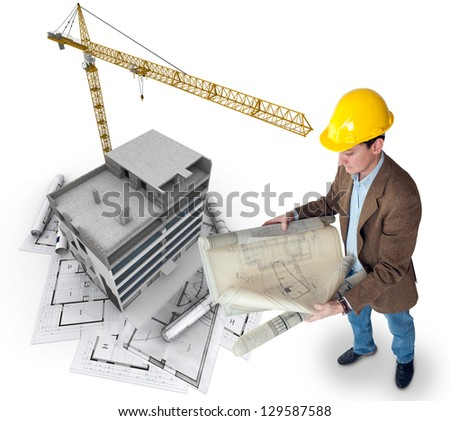An architect supervising a construction project - stock photo