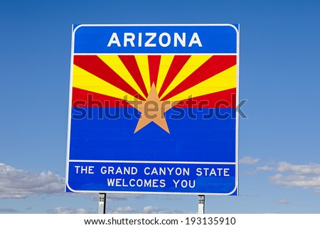 An Arizona State Welcomes You Road Sign - stock photo