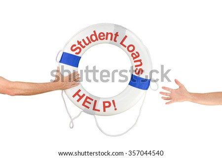 An arm is reaching out with a Student Loans HELP life buoy to help the financially drowning student who is reaching out for help. - stock photo
