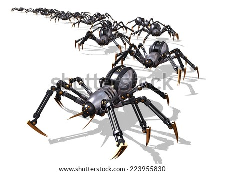 An army of RoboSpiders launch an invasion - 3D render. - stock photo