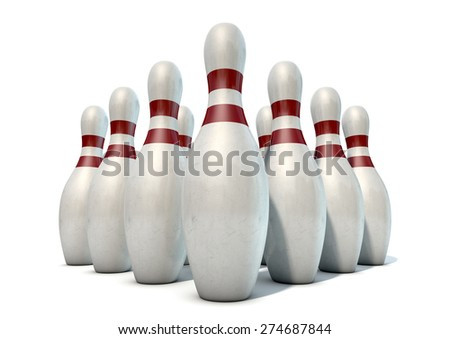 An arrangement of white and red used vintage bowling pins isolated on a white studio background