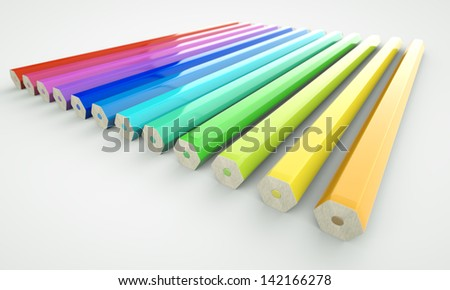 An array of colored 3D pencils pointing away from camera - stock photo