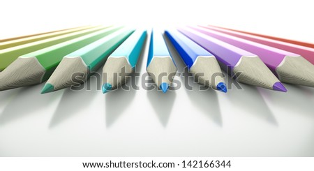 An array of colored 3D pencils pointing into view - stock photo