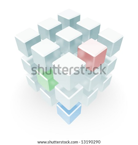 An array of cubes positioned so as to make a statement of an abstract nature, having to do somewhat with something vague and interesting. - stock photo