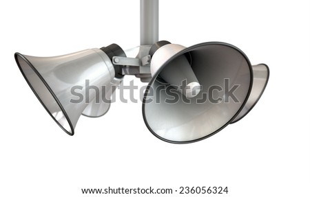 An array of five horn loudspeakers hanging off a pole in a circle facing outwards on an isolated background - stock photo