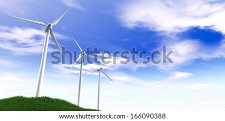 An array of regular wind turbines on a grassy green hill on an isolated blue sky with fluffy clouds