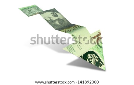 An arrow graph trend shaped 100 australian dollar bank note showing an economic downward trend on an isolated background - stock photo