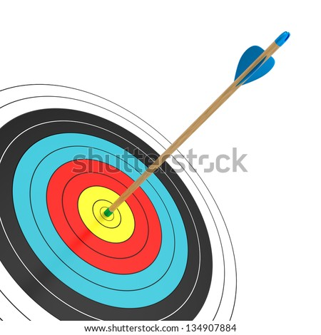 An arrow in the bull's eye isolated on white background. Computer generated image with clipping path.