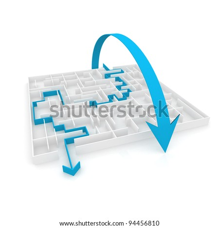 an arrow passes through the maze, and the other above it. computer Simulation - stock photo