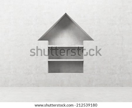 An arrow pointing out the upward direction. - stock photo
