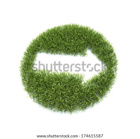 An arrow symbol made out of a patch of grass