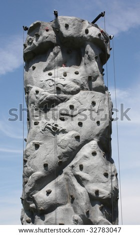 An Artificial Climbing Wall for Practicing Rock Climbing.