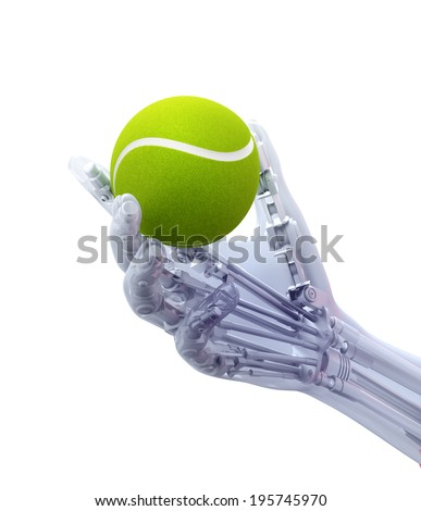 An artificial limb holding a tennis ball - prosthetics technology concept - stock photo