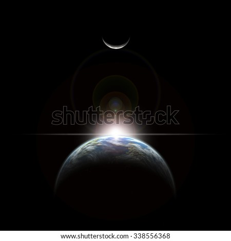 An artist's depiction of a star rising over an Earth-like planet and illuminating it's lone moon.