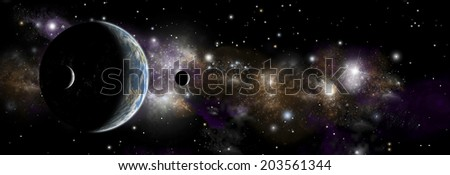 An artist's depiction of  an earth like planet alone in space with a pair of moons in orbit. A distant nebula serves as a backdrop. - stock photo