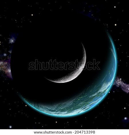 An artist's depiction of  an earth like world with a large rocky moon orbiting in close proximity. A nearby star illuminates both bodies. - stock photo