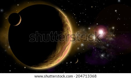 An artist's depiction of  an orange and cloudy world with two moons. A supernova explosion has happened in a distant nebula while a nearby star illuminates the planet and moons. - stock photo