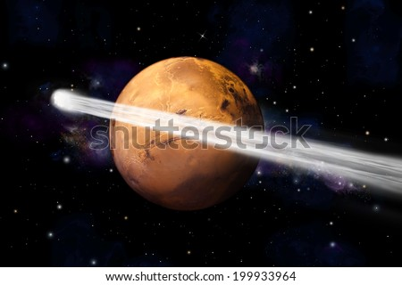 An artist's depiction of  the comet C/2013 A1.  It is shown making a close pass by Mars which is scheduled to happen in October of 2014. Mars image courtesy of NASA. - stock photo