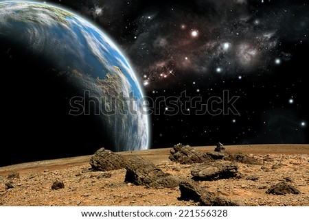 An artist's depiction of  the view from a rocky and barren alien world. A large Earth-like planet rises over the airless environment.