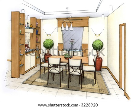 An Artists Simple Sketch Of Interior Design A Dining Room And