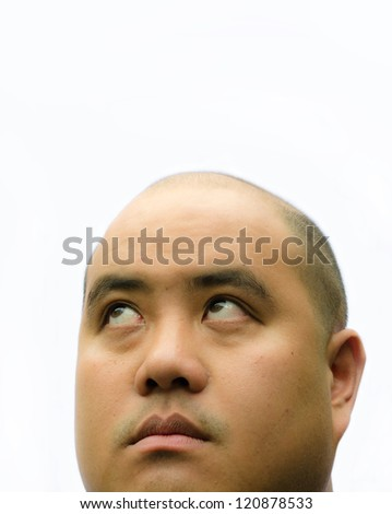 An Asian bald head man male glimpse up showing surprise facial expression with white isolated  background