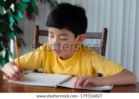 An Asian boy doing his homework at home.