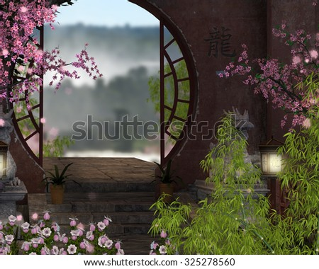 An Asian courtyard background with bamboo and cherry blossoms.  - stock photo