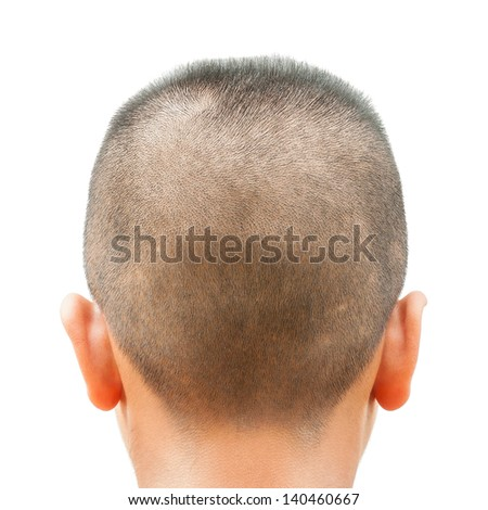 An asian teen head with short hair cut