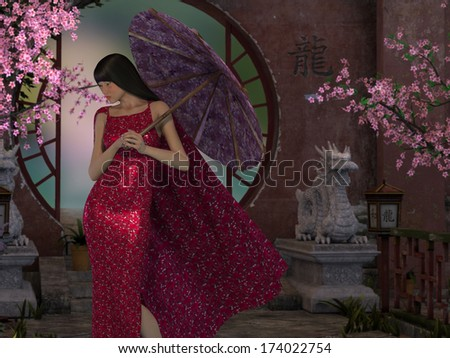 An Asian themed image with cherry blossoms, stone dragons statues and round doorway with a beautiful Asian woman standing holding a parasol. - stock photo