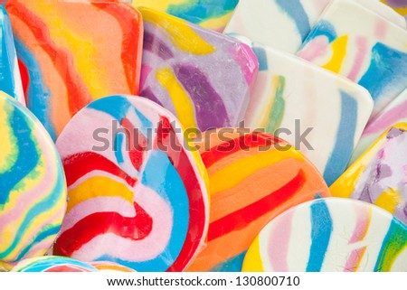 An Assortment of colorful Candy lollipops close up - stock photo