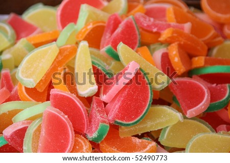 An assortment of colorful candy on full frame background