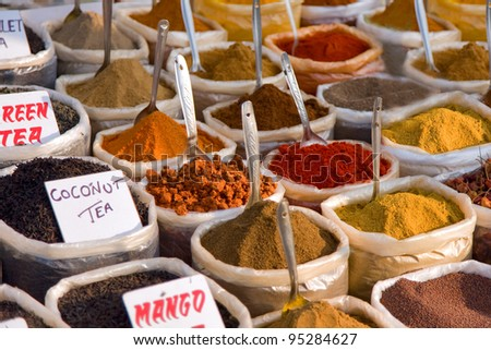 an assortment of different spices for cooking - stock photo