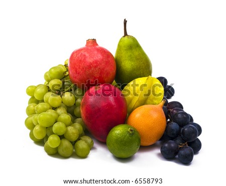 an assortment of fresh exotic fruits - stock photo