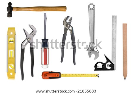 An assortment of full resolution carpentry tools isolated on white.  Easy to select individual tools for singular use.