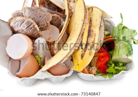 An assortment of kitchen waste waiting to be composted. - stock photo
